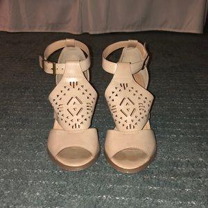 Cute Patterned Neutral High Heels.